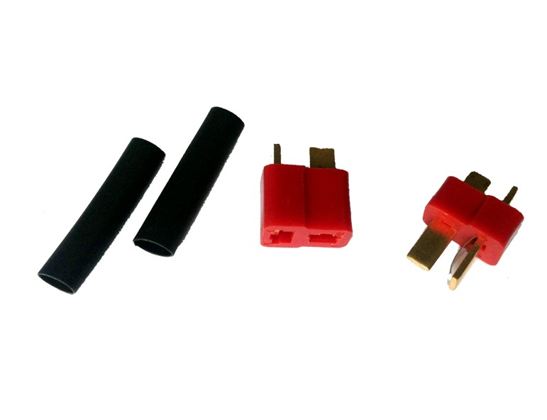 T connector set with plug, socket and heat-shrinkable tube