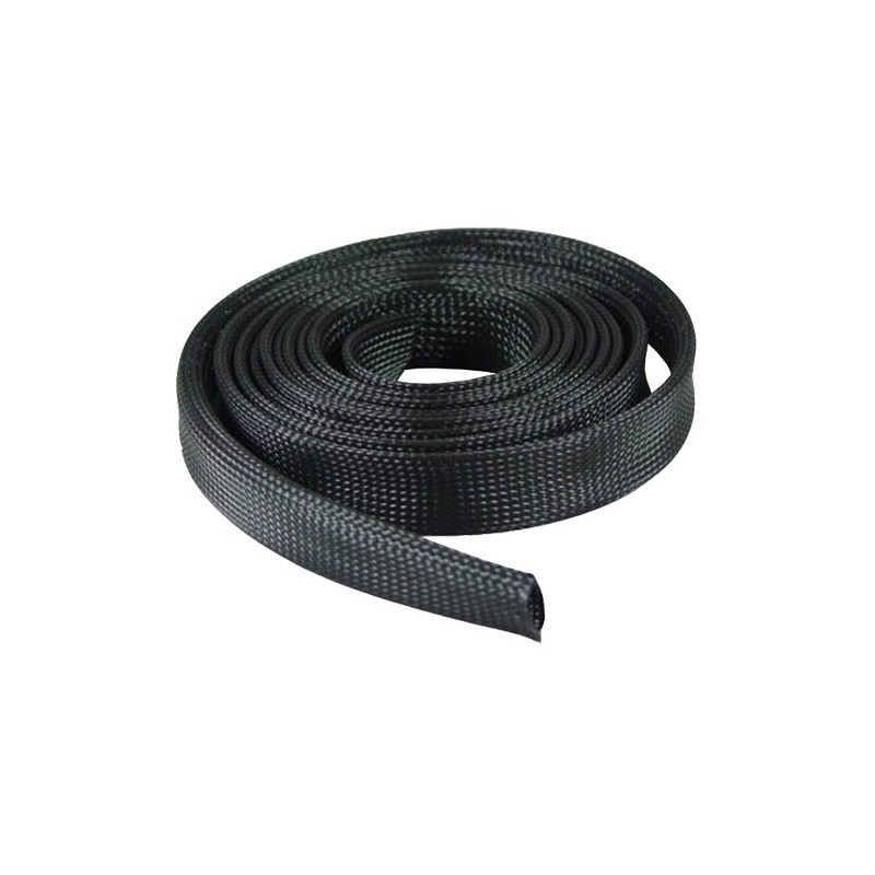 PVC black 15mm braided sleeving 1m