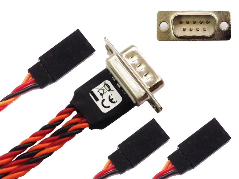 Three servos connection kit with 3x UNI M and DSUB M 9p 25-50-75cm leght